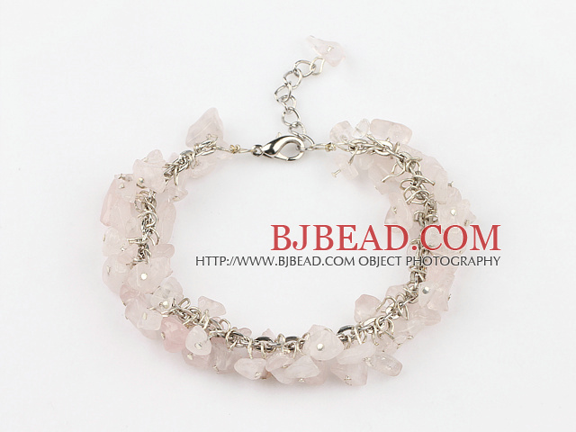 6mm natural rose quartze bracelet with extendable chain