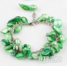 irregular shape dyed green pearl bracelet with extendable chain under $7