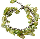 irregular shape dyed grass green pearl bracelet with extendable chain