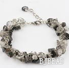 black rutilated quartz chips bracelet with extendable chain
