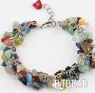multi color stone bracelet with extendable chain