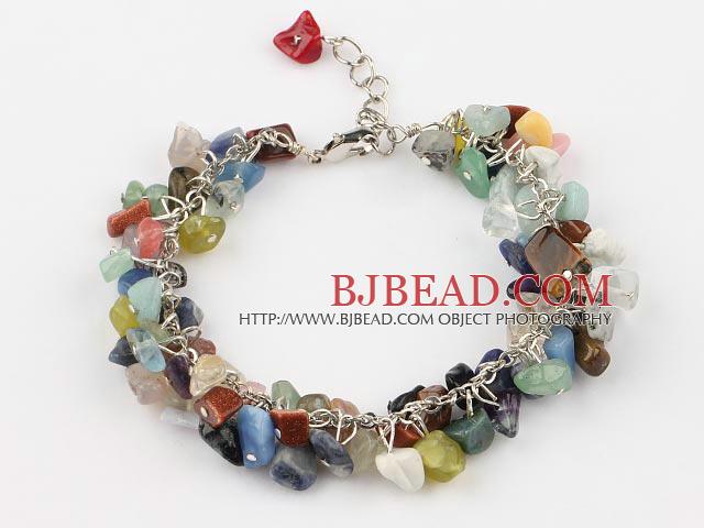 multi color stone bracelet with extendable chain