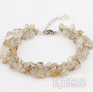 6mm natural citrine chips bracelet with extendable chain