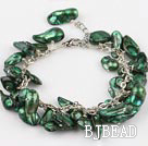 irregular shape dyed dark green pearl bracelet with extendable chain under $7