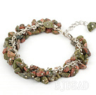 6mm natural green aventurine chips bracelet with extendable chain