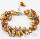 irregular shape dyed gold pearl bracelet with extendable chain under $7