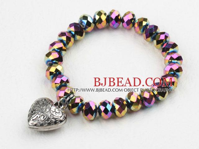 Multi Color Plated Crystal Elastic Bangle Bracelet