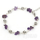 natural amethyst beaded bracelet with extendable chain