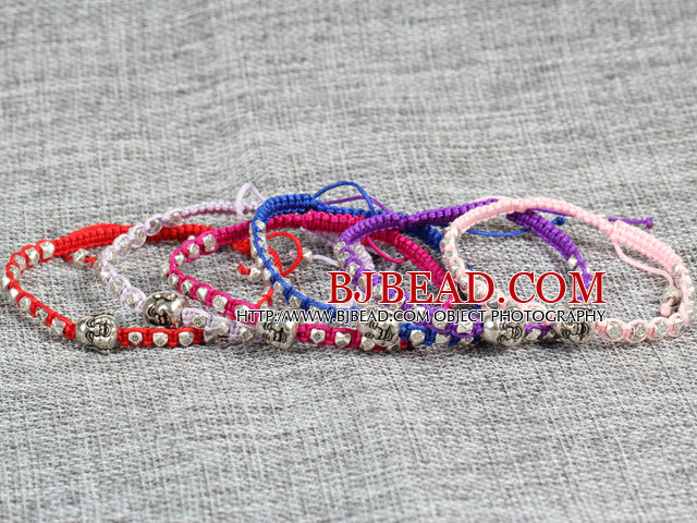 6 Pcs Multi Color Alloyed Buddha Head Accessory Hand-Knitted Bracelet (Random Color)