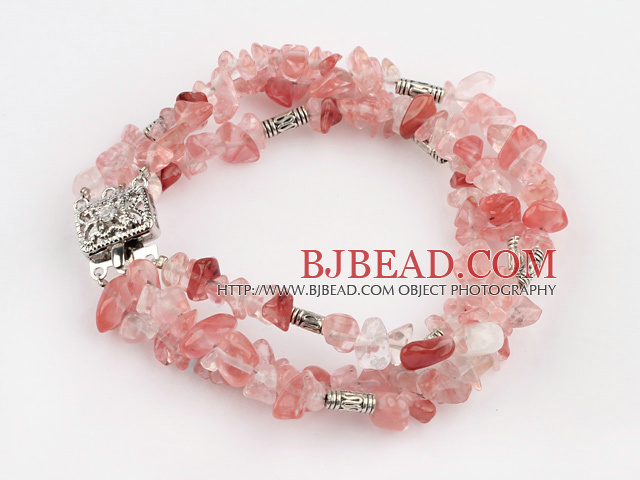 popular 3 strand cherry quartze bracelet