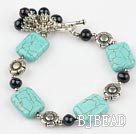 black pearl and turquoise bracelet with toggle clasp