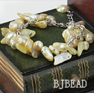 irregular shape dyed light yellow pearl bracelet with extendable chain
