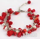 white pearl and red coral bracelet with extendable chain under $ 40