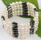multi strand 4-5mm white pearl magnetic bangel