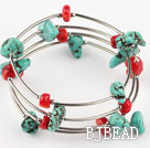 handmade red coral and turquoise bracelet