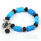 blue turquoise agate bracelet with toggle clasp