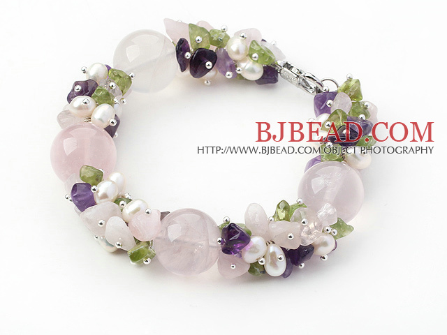Pink Series Assorted Amethyst and Rose Quartz and Peridot Bracelet