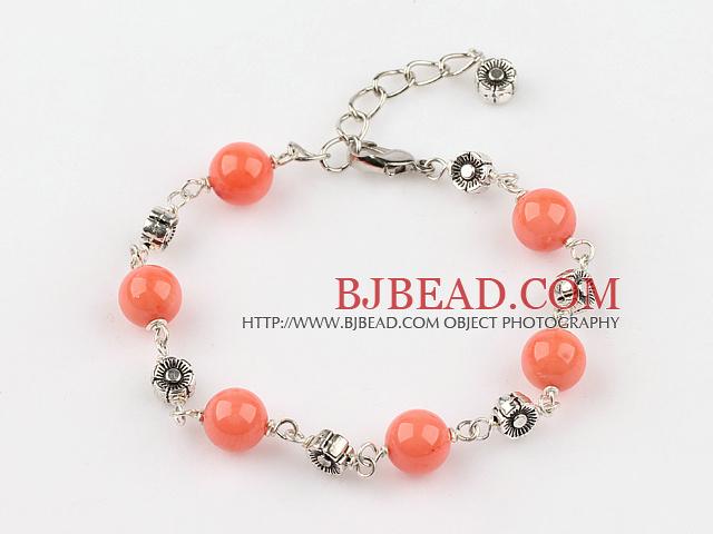 orange coral bracelet with extendable chain