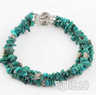 three strand natural turquoise bracelet