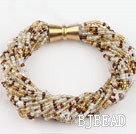 beautiful 3-4mm pearl and glass beads bracelet with magnetic clasp