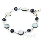 pearl and black lip shell bracelet with extendable chain