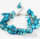 dyed blue pearl bracelet with metal chain and lobster clasp