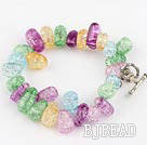 colorful burst pattern crystal bracelet with toggle clasp