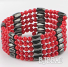 multi strand red coral magnetic bangle
