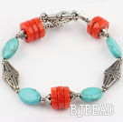 turquoise and coral bracelet with toggle clasp