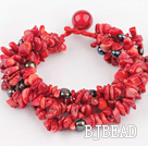 multi strand black pearl and red coral bracelet