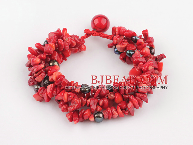 multi strand black pearl and red coral bracelet