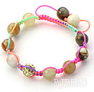 Multi Color 10mm Round Colorful Jade Stone and Rhinestone Beads Adjustable Drawstring Bracelet under $ 40