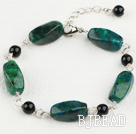 black agate and phoenix stone bracelet with extendable chain