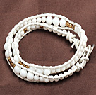 Fashion Style White Porcelian Beads Wrap Bangle Bracelet