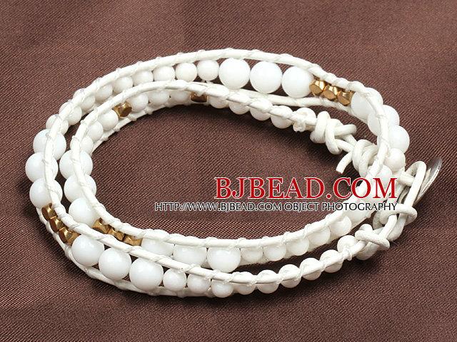 Fashion Style White Porcelian Beads Wrap Bangle Bracelet