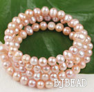 pink freshwater pearl wrap bangle bracelet