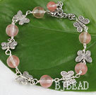 7.5 inches cherry quartze butterfly charm bracelet with extendable chain