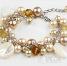Seashell bead crystal bracelet