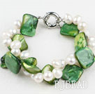 twisted 2 strand white pearl green shell bracelet 7 inches under $ 40