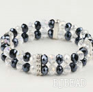 8mm white and black elastic crystal bracelet 7 inches