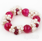 Assorted White Freshwater Pearl and Big Hot Pink Agate Stretch Bracelet