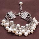 Fashion Multi Strand Natural White Freshwater Pearl Charm Bracelet