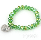 Grass Green Manmade Crystal Elastic Bangle Bracelet with Heart Shape Metal Accessories under $ 40