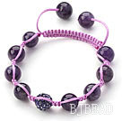 Dark Purple Series 10mm Round Amethyst and Rhinestone Beads Adjustable Drawstring Bracelet