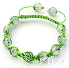 Light Green Series 10mm Round Prehnite and Rhinestone Beads Adjustable Drawstring Bracelet