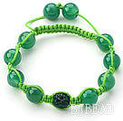 Green Series 10mm Round Green Agate and Rhinestone Beads Adjustable Drawstring Bracelet