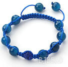 Dark Blue Series 10mm Round Dark Blue Facted Agate Stone and Rhinestone Beads Adjustable Drawstring Bracelet under $ 40