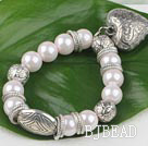 pink acrylic pearl tibet silver stretch bracelet with heart charm