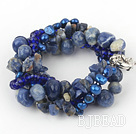 Multi Strand Deark Blue Pearl Crystal and Sodalite Bracelet