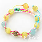 Yellow and Blue Series 10mm Round Yellow Cats Eye and Blue Jade and Rhinestone Beads Adjustable Drawstring Bracelet